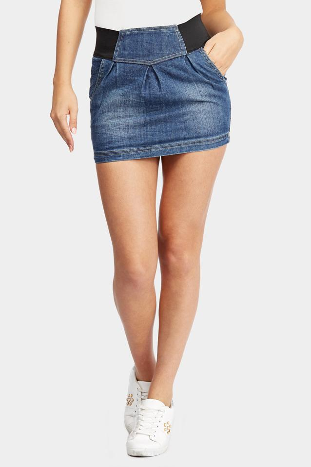 Blue Denim Mini Skirt
