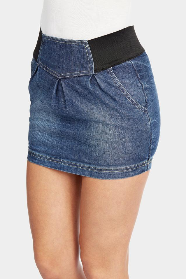 denim-mini-skirt view 3