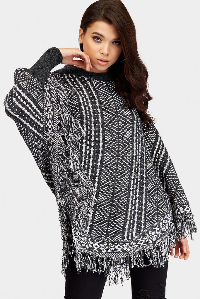 Dark Grey Hooded Knitted Poncho