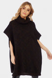 Black Oversized Roll Neck Knitted Jumper