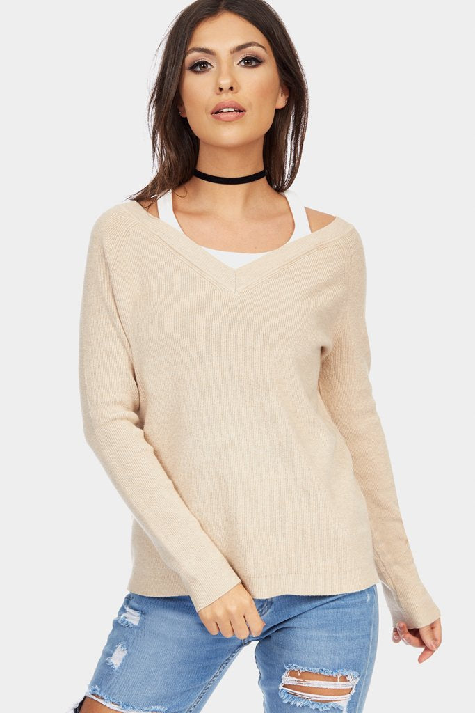 Beige V Neck Knit Top