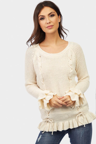 Cream Cable Detail Frill Sleeve Jumper
