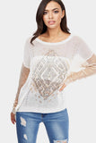 White Graphic Placement Knit Top
