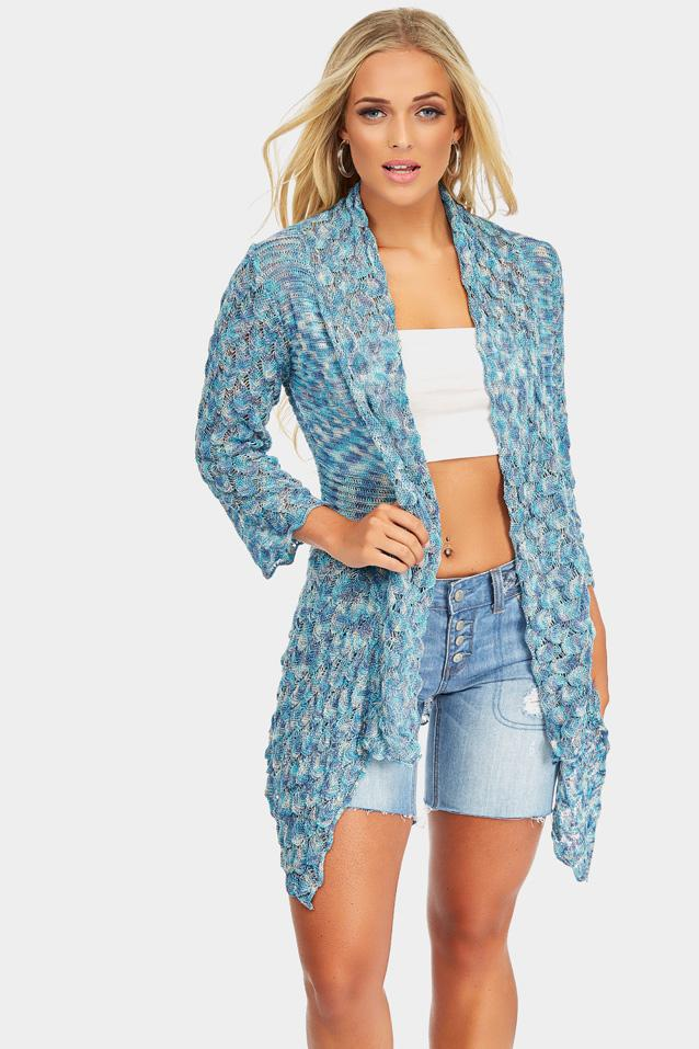 Blue Knitted Cardigan With Scalloped Hem