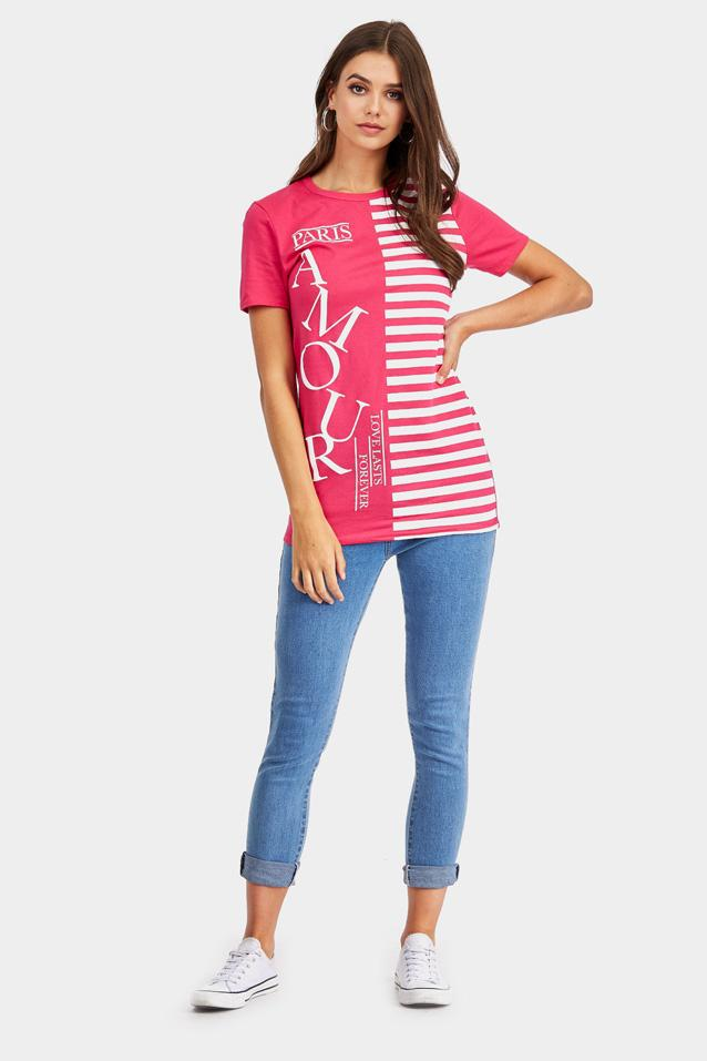 Pink 'Paris Amour' Stripe Slogan T-Shirt