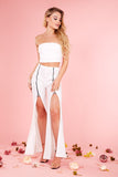 Cream Bandeau Crop Top And Zip Flared Trousers