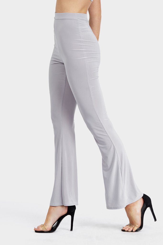 Grey High Waisted Wide Leg Trousers