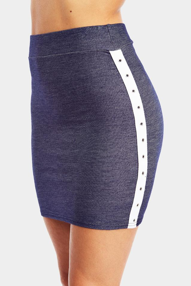 Blue Denim Mini Skirt With Trim Detail