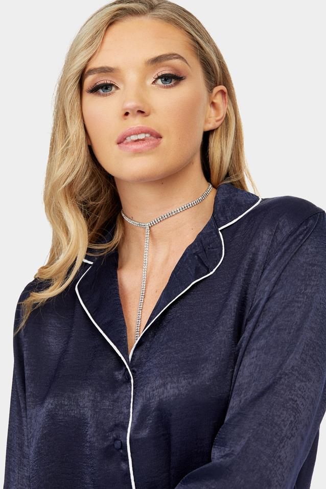 Navy Satin Shirt With Contrast Piping