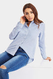 Blue Cotton Striped Boyfriend Shirt