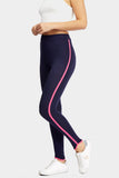 Navy/Pink High Waisted Leggings With Piping Detail