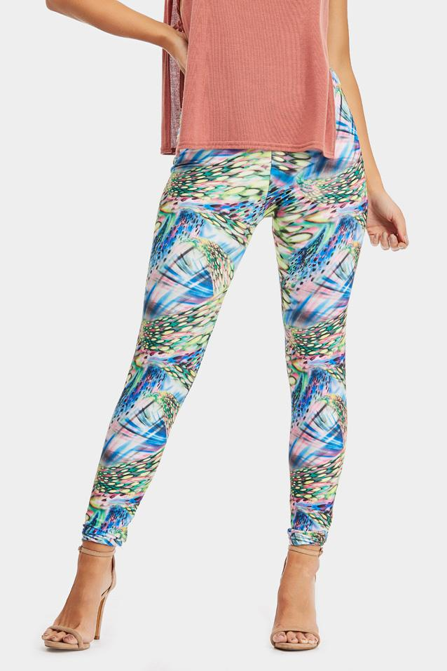Blue Graphic Printed Leggings