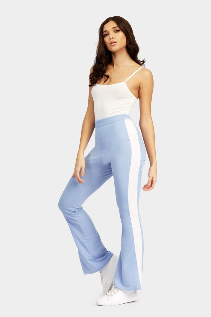 Blue Flare Trousers With Stripe Side Detail