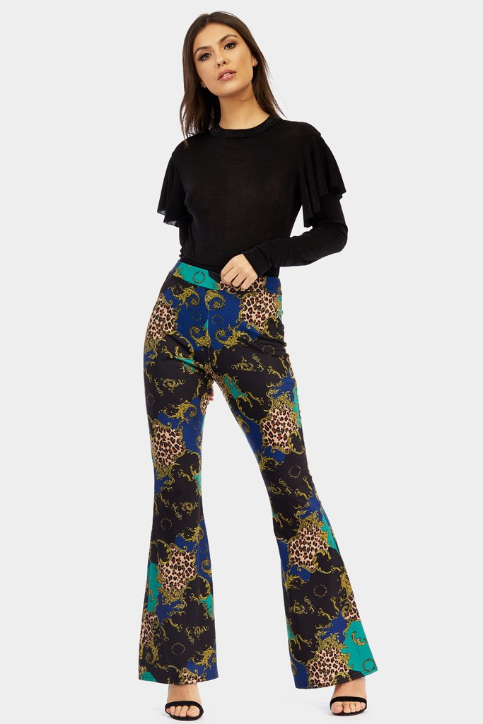 Green Animal Baroque Print Fit Flare Trousers