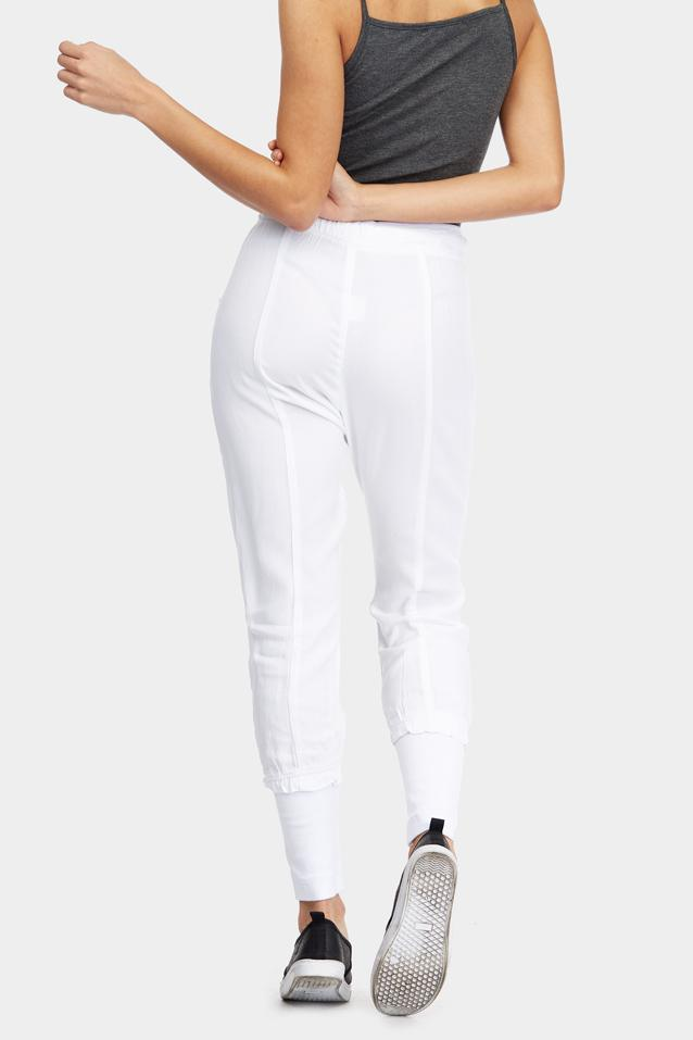 White Cargo Cuff Hem Trousers