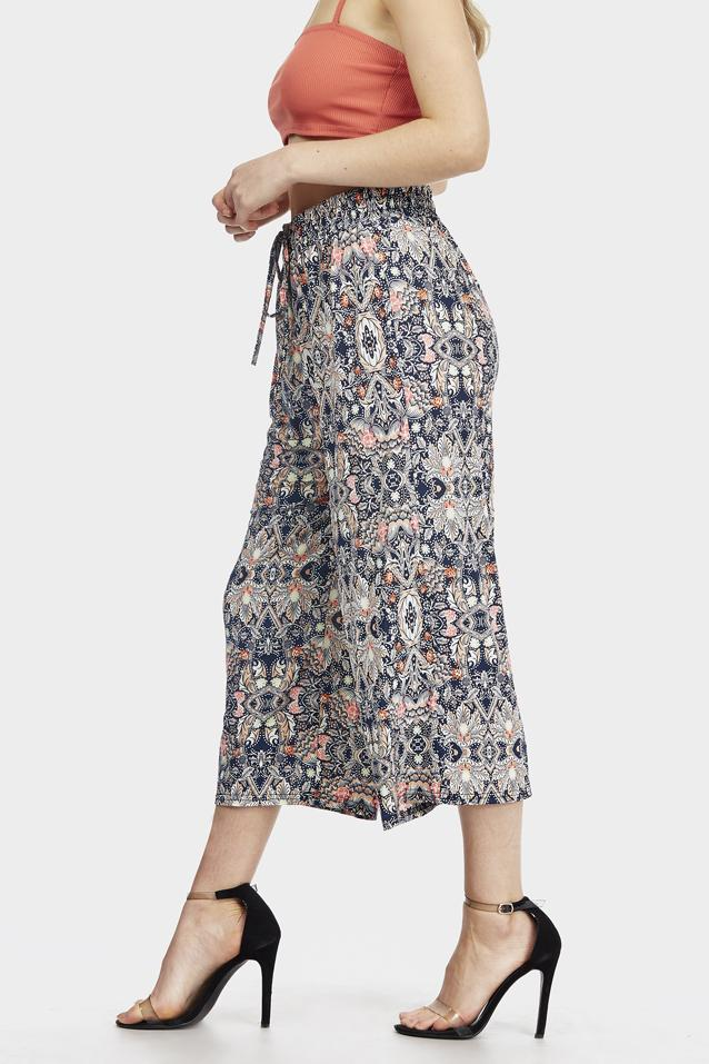 Navy Floral Printed Culottes