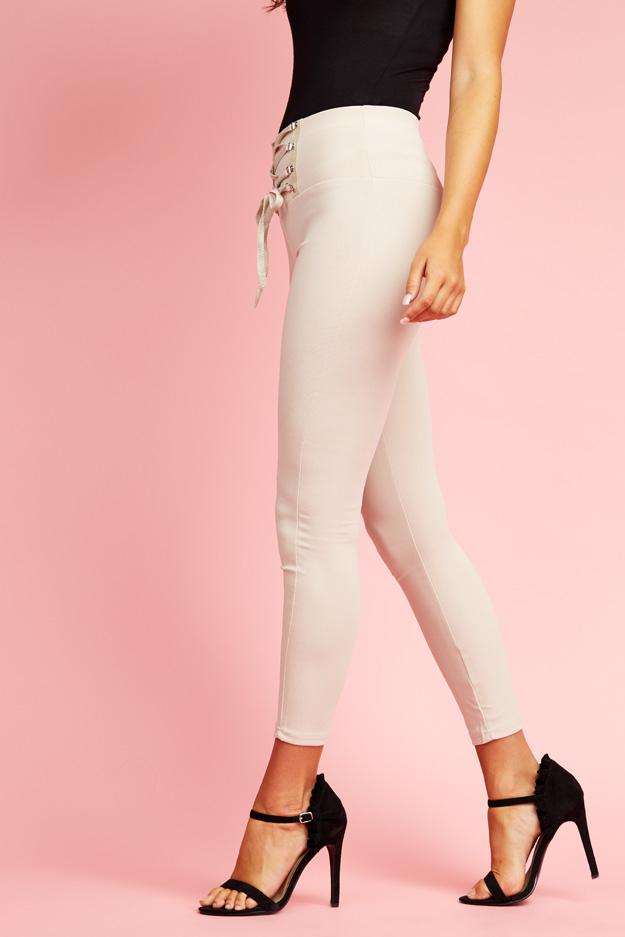 Beige High Waisted Corset Trousers