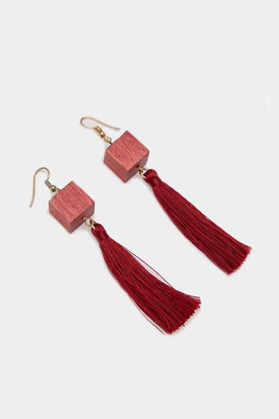 Red Cube Tassel Earrings