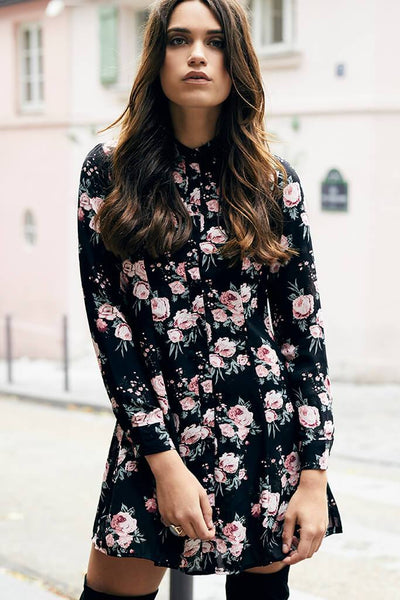 Multi Floral Swing Shirt With Lace Detail