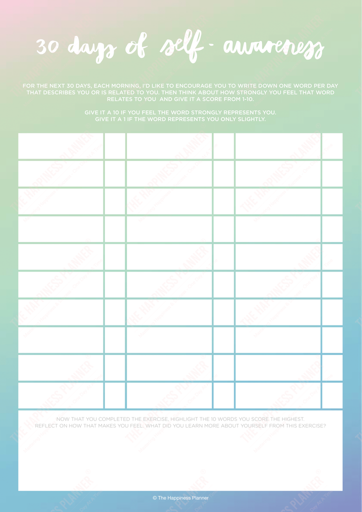self-awareness worksheets printables