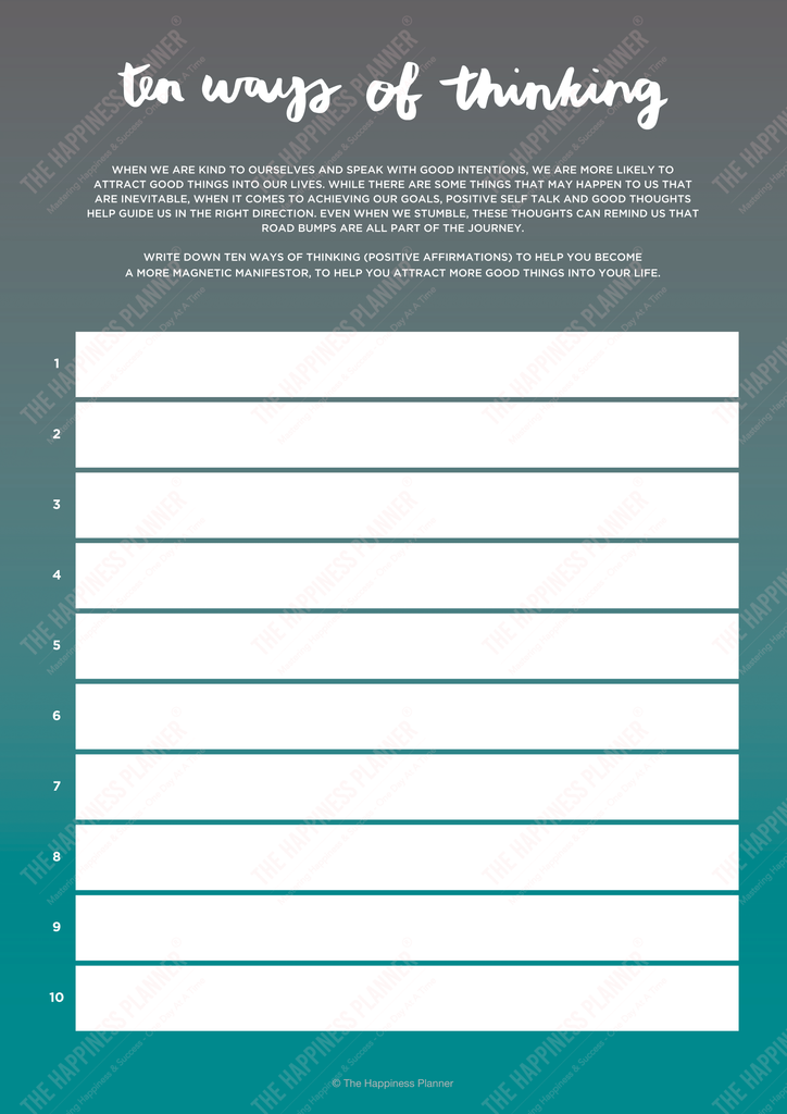 law of attraction printable worksheets
