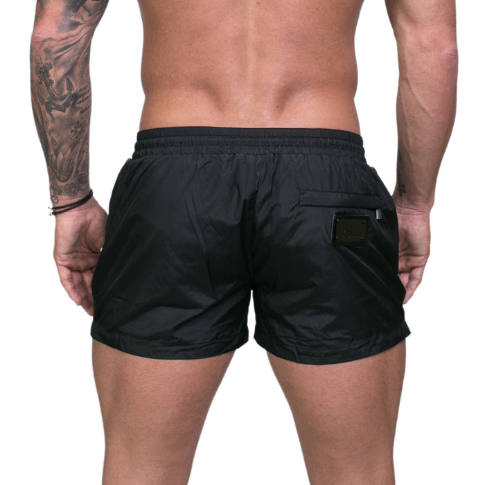 Signature Black Swim Shorts with Matte Black Detailing