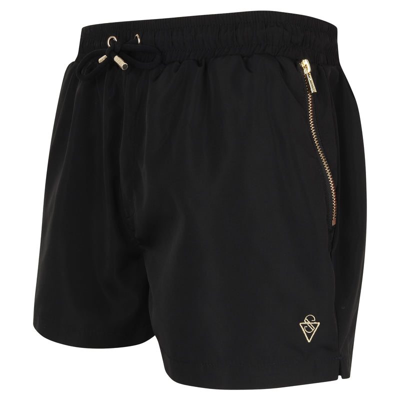 Signature Ibiza Black Swim Shorts with Gold Detailing