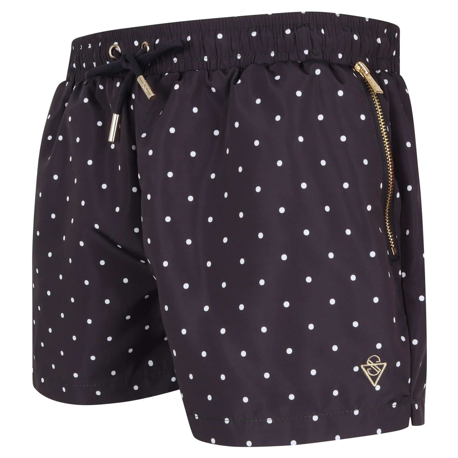 Signature Midnight Blue Polka Dot Swim Shorts with Gold Detailing