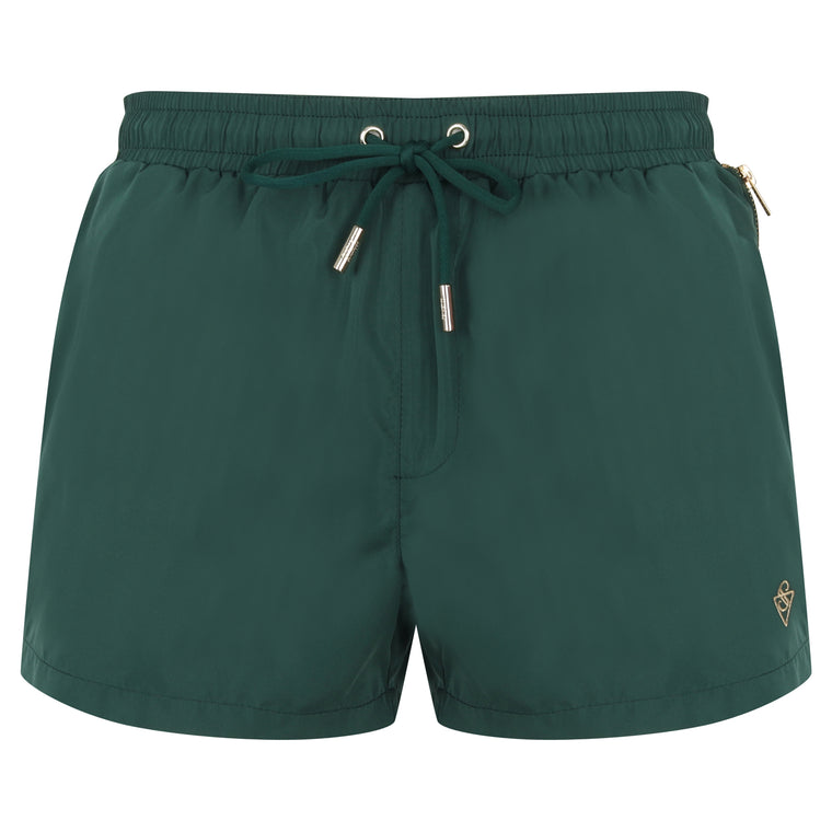 Signature Papakolea Green Swim Shorts with Gold Detailing