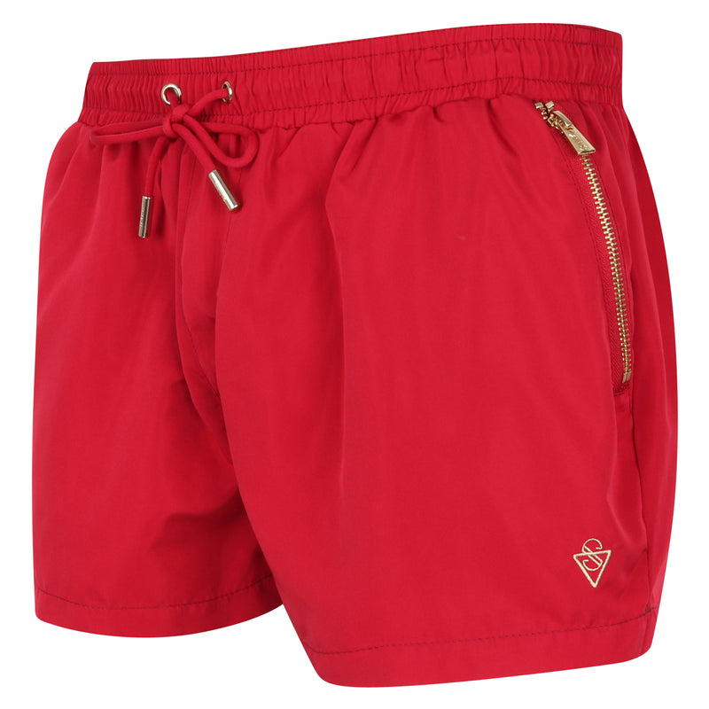 Signature Bermuda Red Swim Shorts with Gold Detailing