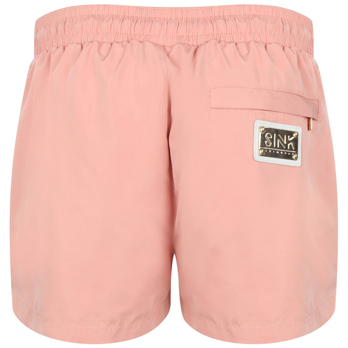 Signature Harbor Pink Swim Shorts with Gold Detailing