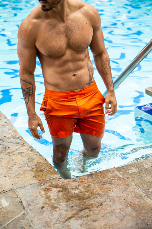 Tailored Coral Reef Orange Swim Shorts