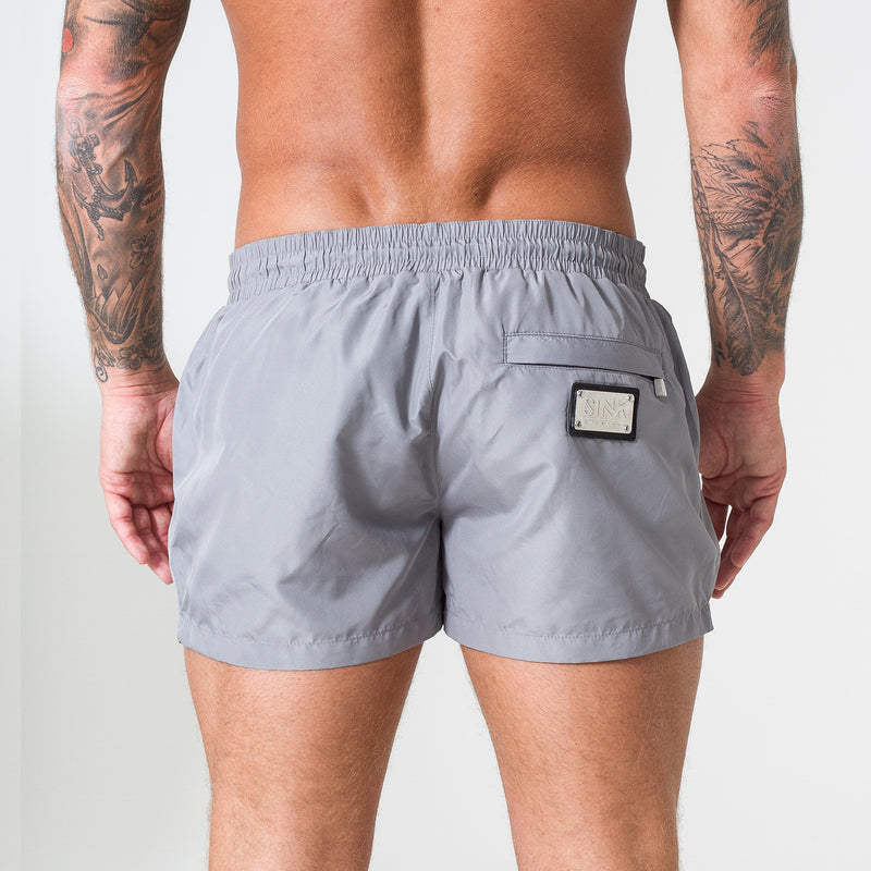 Signature Shark Grey Swim Shorts with Platinum Detailing