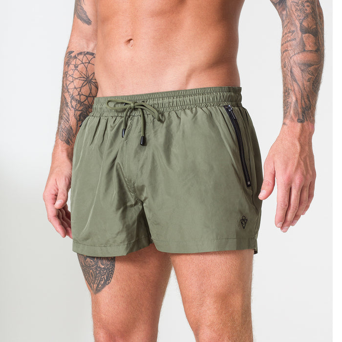 Signature Khaki Swim Shorts with Matte Black Detailing