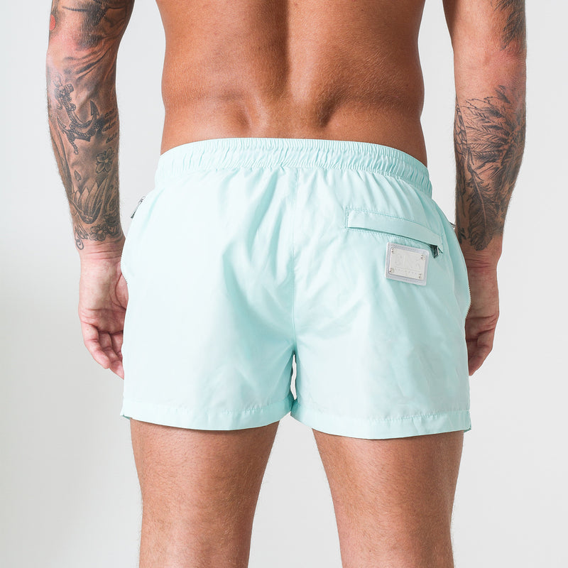 Signature Mint Swim Shorts with Platinum Detailing