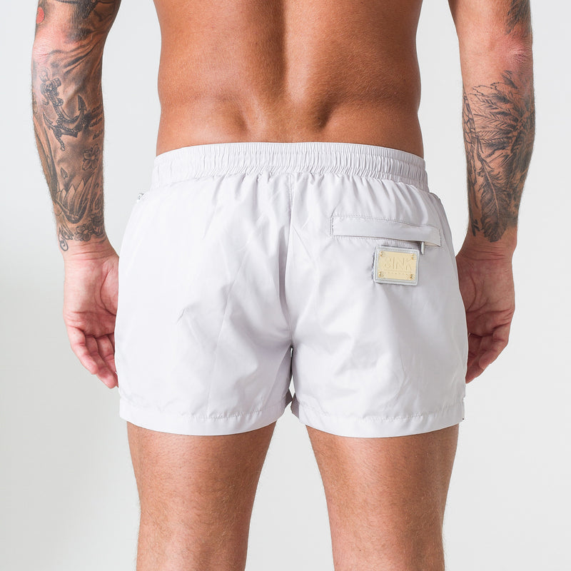 Signature Pearl Swim Shorts with Gold Detailing