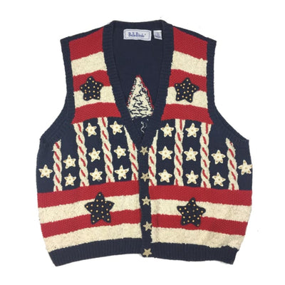 Americana Belle Pointe Vintage Sweater Vest Size 2X - 4th of July