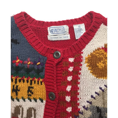Christmas ABC School Ashley Knitted By Hand Vintage Sweater Size M - Christmas