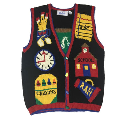 Christmas Back To School BellePointe Vintage Sweater Vest Size L - Christmas