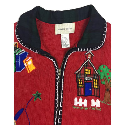 Christmas Back To School Lemon Grass Vintage Sweater Vest Size M - Christmas