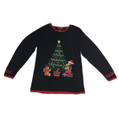 Christmas Bears Decorating Tree Work In Progress Vintage Sweater Size XL 18-20 - Christmas
