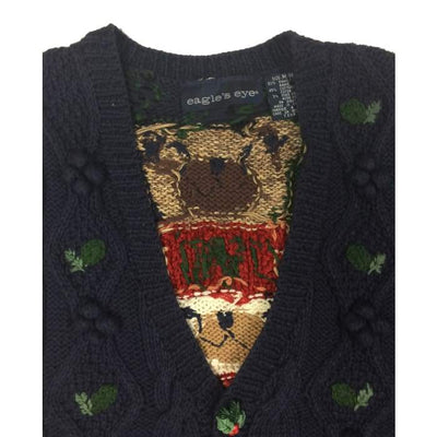 Christmas Bears Eagles Eye Vintage Sweater Vest Size M - Christmas