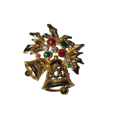 Christmas Bells With Rhinestones Signed Avon Brooch - Christmas