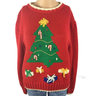 Christmas Candy Cane Tree Hand Embroidery Exclusive Vintage Sweater Size L - Christmas