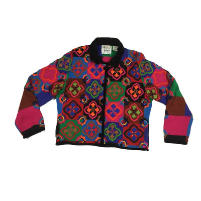 Christmas Colorful Poinsettia Michael Simon Vintage Sweater Size Petite M - Christmas