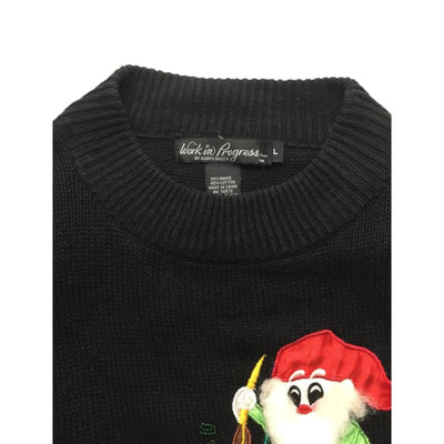 Christmas Elves Work In Progress Vintage Sweater Size L - Christmas