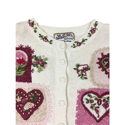Christmas Flower Hearts Heirloom Collectibles Vintage Sweater Size XL - Christmas