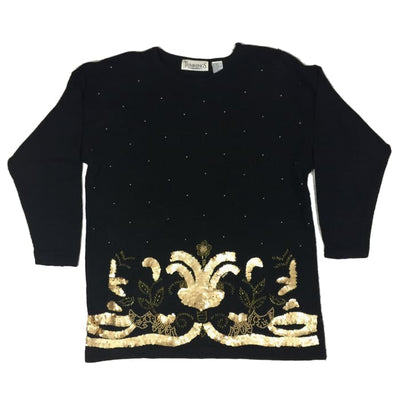 Christmas Gold Flowers Trimmings Vintage Sweater Size L - Christmas