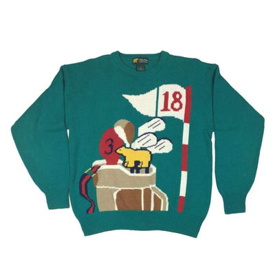 Christmas Golfing Golden Bear By Jack Nicklaus Vintage Sweater Size M - Christmas