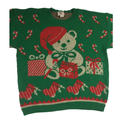 Christmas Green And Red Teddy Bear Vintage Sweater Size 20W/40 - Christmas